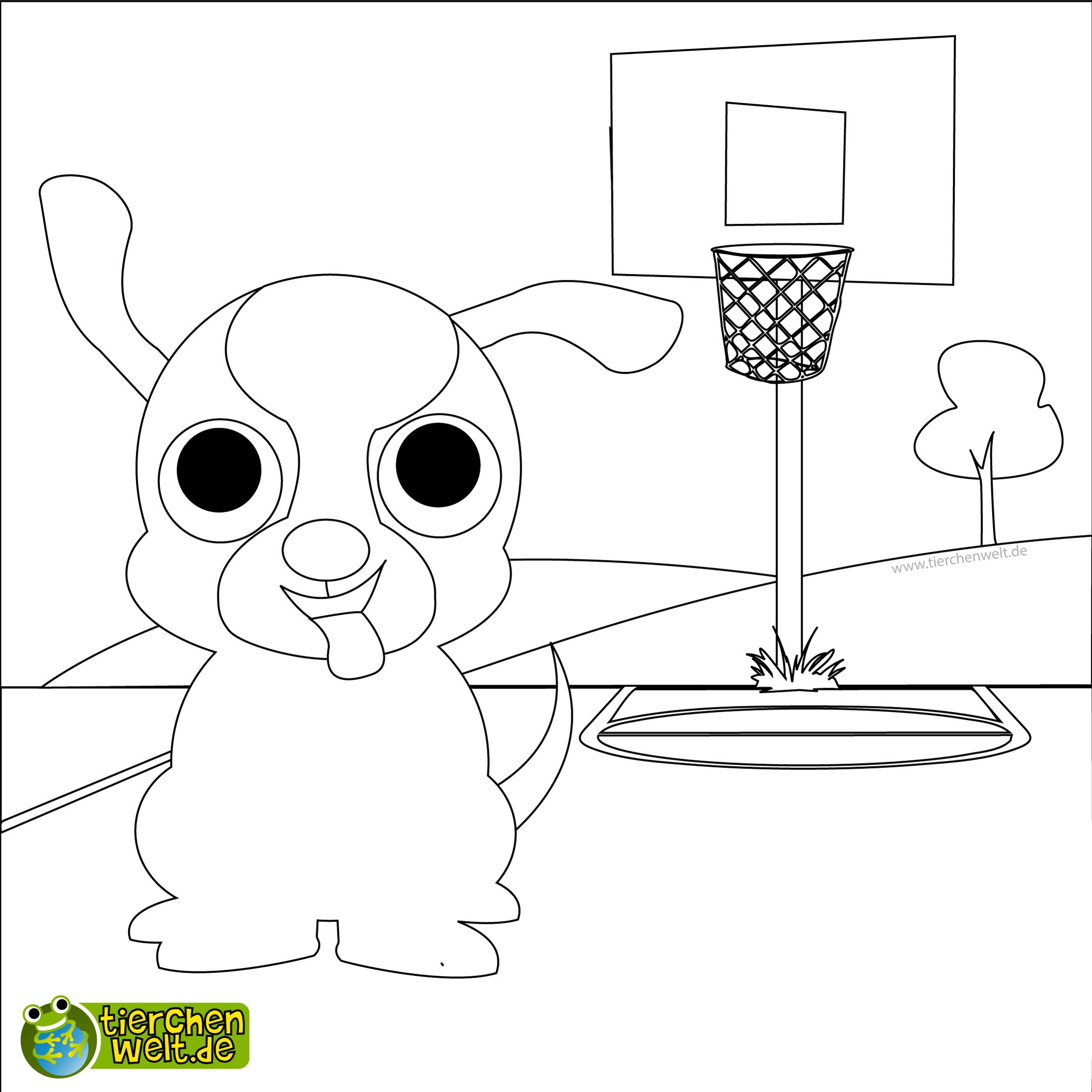 malvorlage hund basketball
