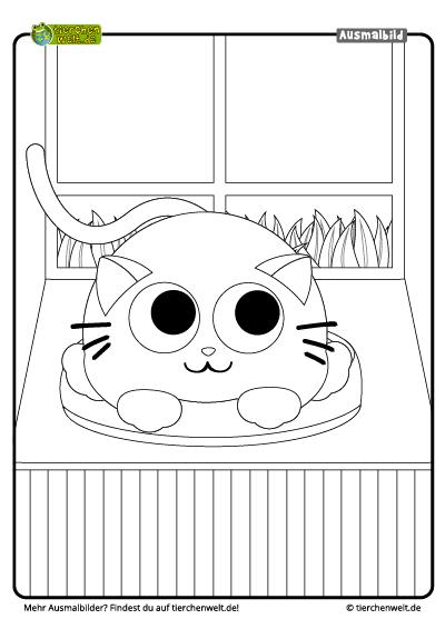 Malvorlage Katze Fenster