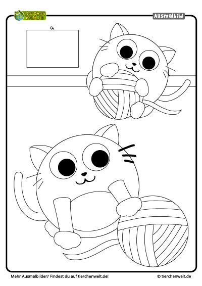 Malvorlage Katze Spielen