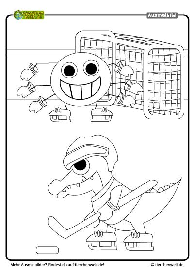 malvorlage krokodil eishockey