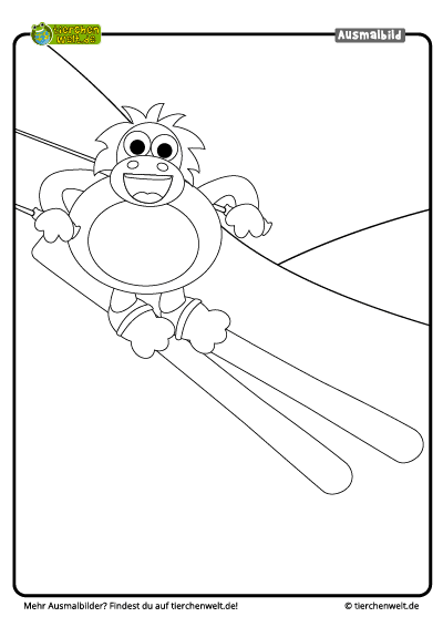 malvorlage orangutan ski