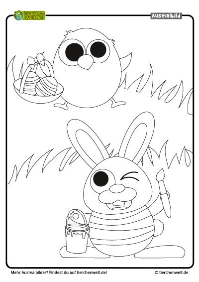 Malvorlage Ostern Hase Küken