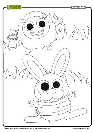 Malvorlage Ostern Schaf Hase