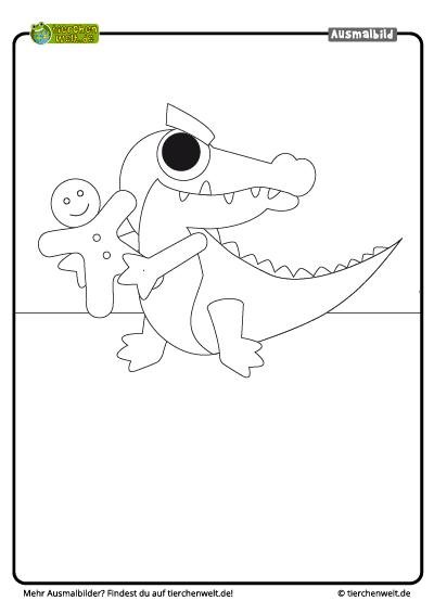 malvorlage weihnachten krokodil
