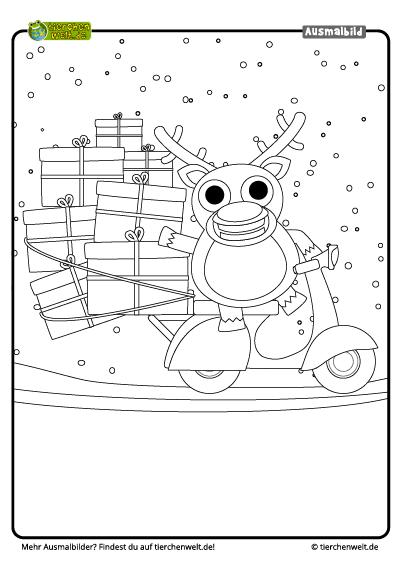 Malvorlage Weihnachten Rentier Scooter